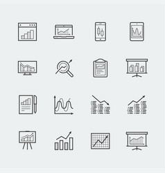 devices and objects with charts and graphs icon vector image