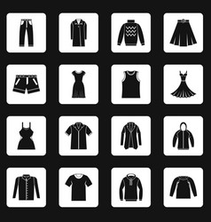Different clothes icons set squares vector