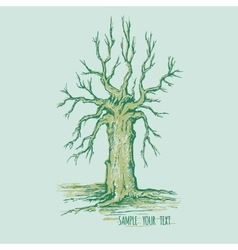 Dry tree without leaves with place for text vector