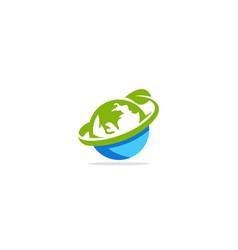 earth globe green leaf nature logo vector image