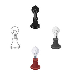 Edison s lamp icon in cartoonblack style isolated vector