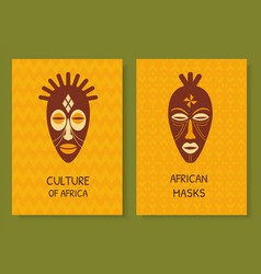 Ethnic postcards with african masks vector