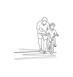 father teaching his son with safety helmet to vector image