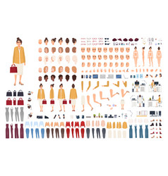 female office assistant avatar set or diy kit vector image