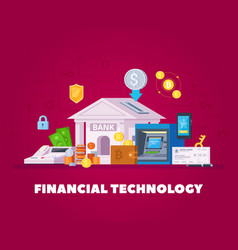 Financial technology flat composition vector