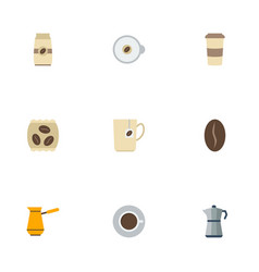 Flat icons arabica bean package latte seed pack vector