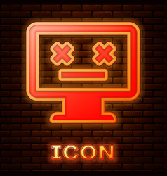 Glowing neon dead monitor icon isolated on brick vector