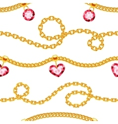 Golden chains with gemstones jewels vector