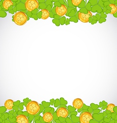 Greeting background with shamrocks and golden vector image