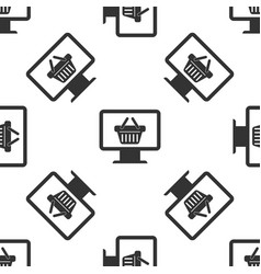 grey computer monitor with shopping basket icon vector image