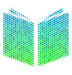 Halftone blue-green open book icon vector