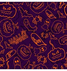 Halloween themed seamless background vector image