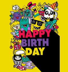 Happy birthday design with smileys wearing vector