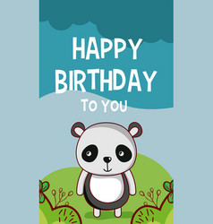 happy birthday to you panda cartoon vector image