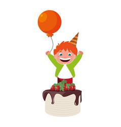 happy boy with birthday cake vector image