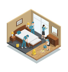 House cleaning isometric composition vector