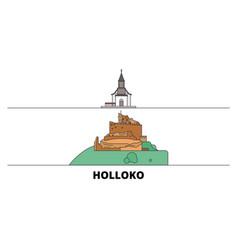 hungary holloko old village flat landmarks vector image
