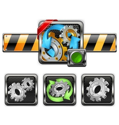industrial gear icons vector image