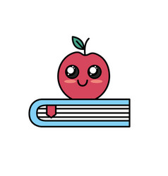 Kawaii cute happy apple over book vector