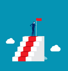 Leader successful man on top stairs vector
