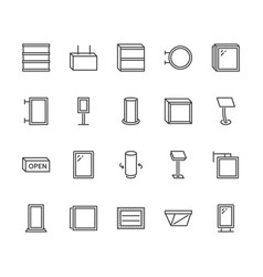 Light box flat line icons hanging signboard vector