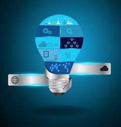 Light bulb idea with modern technology vector image