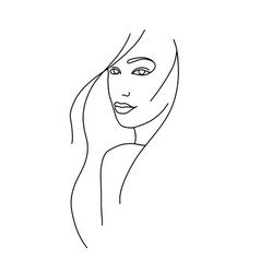 Line drawing a beautiful woman 8 vector