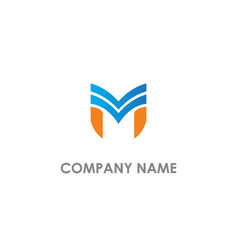 m initial sign colored company logo vector image