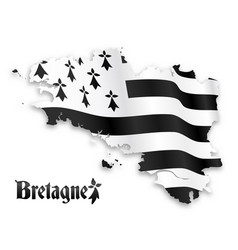map brittany silhouette with shadow on vector image
