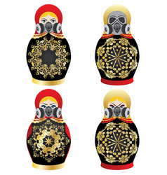 Matryoshka in respirator vector
