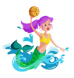 Mermaid plays water polo vector