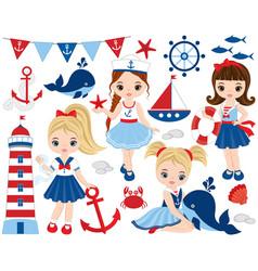 Nautical cute little girls vector