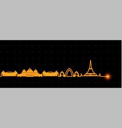 Naypyidaw light streak skyline vector