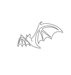 one continuous line drawing scary bat vector image
