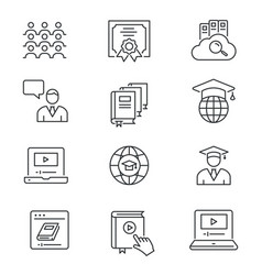 online education line icons set black vector image