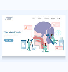 otolaryngology website landing page design vector image