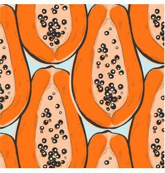 papaya repeat decoration exotic fruit tropical vector image