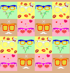 pattern various fashionable glasses vector image