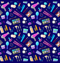 pattern with tools for makeup vector image