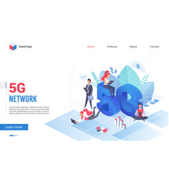 people with devices at giant letters 5g network vector image