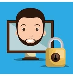 Person screen padlock glass vector