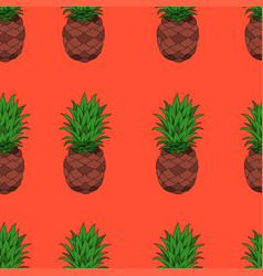 Pineapples on orange background seamless vector