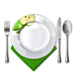 Plate with spoon knife and fork vector