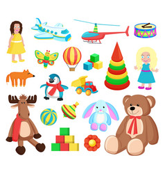 Playthings at factory set vector