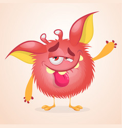 pleased funny monster cartoon vector image