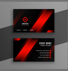 Red and black geometric business card design vector