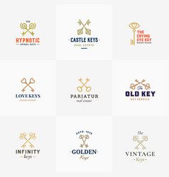 retro keys symbols big collection abstract vector image