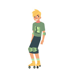 roller skating young man with sports protection vector image