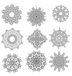 Round Geometric Ornaments Set Isolated vector image