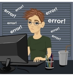 sad teenager with error message on computer vector image